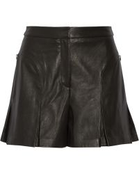Tibi Pleated Leather Shorts - Lyst