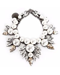 Ellen Conde - White Pearl And Crystal Bracelet - Lyst