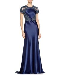 Catherine Deane Akira Short-Sleeve Beaded Satin Gown - Lyst