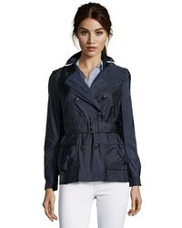 Burberry Navy Nylon Double Breasted 'Peasdale' Short Trench Coat - Lyst