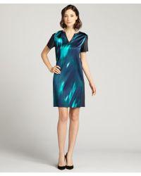 Elie Tahari Sea Blue Printed Silk Blend And Lambskin Trim 'Kellan' V-Neck Dress - Lyst