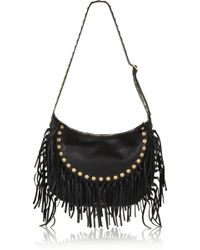 Valentino Crockee Fringed Texturedleather Shoulder Bag - Lyst
