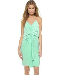 T-bags - Knee Length Dress With Knot Detail - Mint - Lyst