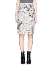 Theory 'Phereniki' Geode Print Crepe Pencil Skirt gray - Lyst