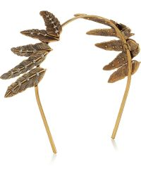 Oscar de la Renta - Goldplated Crystal Feather Headband - Lyst
