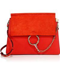 Chloé | Faye Suede & Leather Medium Shoulder Bag | Lyst
