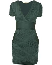 Halston Heritage Ruched Jersey Mini Dress - Lyst