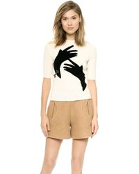 Carven Hands Sweater  Ecru - Lyst