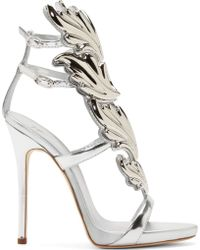 Giuseppe Zanotti Silver Leather Wing Decal Kanye West Edition Stilettos - Lyst