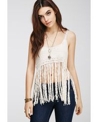 Forever 21 Fringed Crochet Crop Top - Lyst