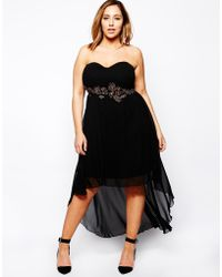 Ax Paris Plus Size Colored Jewel Drop Back Dress - Lyst