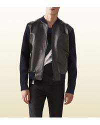 Gucci Wool And Leather Bomber Jacket - Lyst