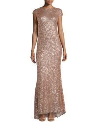 Badgley Mischka Sequined Drape Back Gown - Lyst