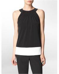 Calvin Klein White Label Faux Leather Detail Halter Top - Lyst
