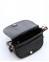 Treesje - Black Croc Embossed Leather Small 'koralina' Expandable Saddle Bag - Lyst