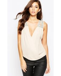 TFNC | Wrap Front Chiffon Top With Embellished Shoulder | Lyst