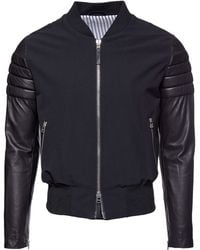 AMI Leather Sleeve Bomber - Lyst