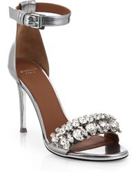 Givenchy Monia Metallic Leather Sandals - Lyst