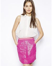 Dress Gallery Nelia High Neck Silk Dress With Sequin Skirt - Lyst