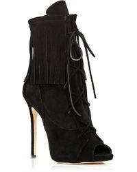 Giuseppe Zanotti Black Fringed Suede Peeptoe Boots - Lyst