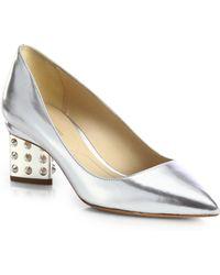 Nicholas Kirkwood Metallic Leather Studded-Heel Pumps - Lyst