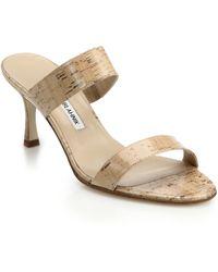 Manolo Blahnik Pat Cork & Leather Slide Sandals - Lyst