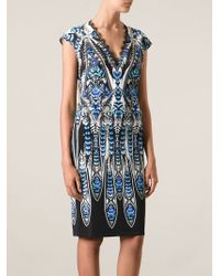Roberto Cavalli Feathered Printed Dress - Lyst