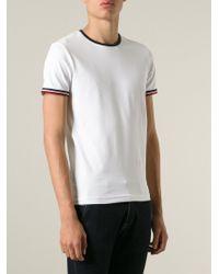 Moncler Striped Trim T-Shirt - Lyst