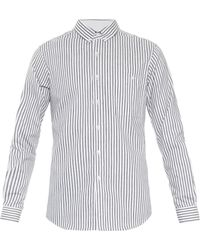 Issey Miyake Ticking Stripe Cotton Twill Shirt - Lyst