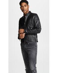 DIESEL - Leather Biker Jacket With Side Buckles - Lyst