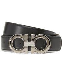 Ferragamo - Double Gancio Enamel Reversible Leather Belt - Lyst