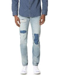 Club Monaco - Patchwork Slim Denim Jeans - Lyst