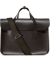 Cambridge Satchel Company - Stamped Croc Large Folio Briefcase - Lyst