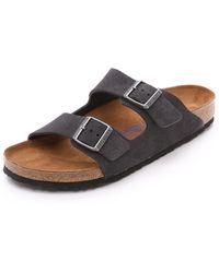 Birkenstock - Suede Soft Footbed Arizona Sandals - Lyst
