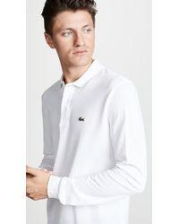 Lacoste - Pique White Ls Polo Shirt - Lyst