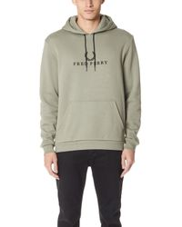 Fred Perry - Embroidered Hooded Sweatshirt - Lyst