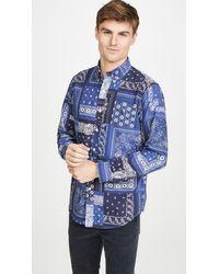 Polo Ralph Lauren Bandana Plaid Printed Oxford Button Down Shirt - Blue