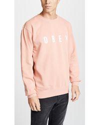Obey - Pigment Fleece Crewneck Sweatshirt - Lyst