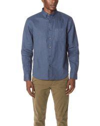 Club Monaco - Button Down Linen Shirt - Lyst