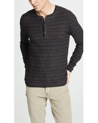 Billy Reid - Striped Henley Shirt - Lyst