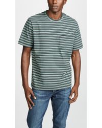Vince - Multi Stripe Short Sleeve Pocket Tee - Lyst