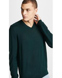 Vince - Merino Wool Elbow Patch V Neck Jumper - Lyst