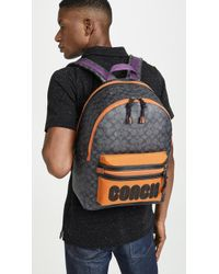 COACH Signature Academy Backpack With Coach Patch - Gray