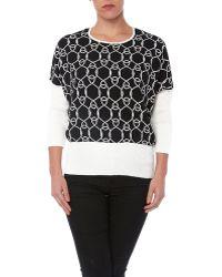 YAL New York - 3/4 Sleeve Printed Sweater - Lyst