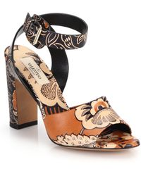 Valentino Printed Leather Sandals - Lyst