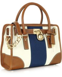 Michael Kors Hamilton Stripe Canvas Satchel - Lyst