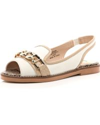 River Island White Chain Front Peep Toe Sling Back Flats - Lyst