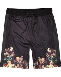 River Island Black Hack Renaissance Border Print Shorts - Lyst