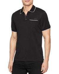 Calvin Klein Tonal Stripe Contrast-Tipped Polo black - Lyst