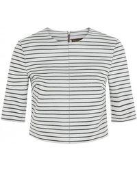 Muubaa Paloma Stripe Bonded Leather Top - Lyst